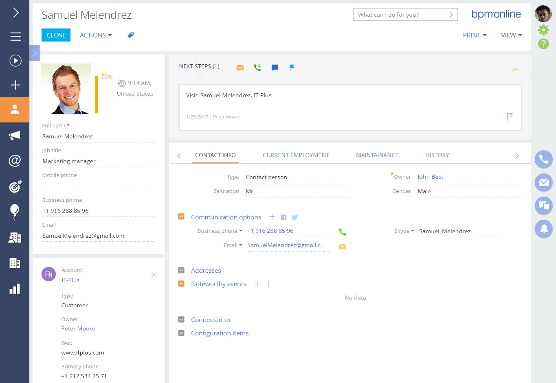 bpmonline Web Based Contact Management Software