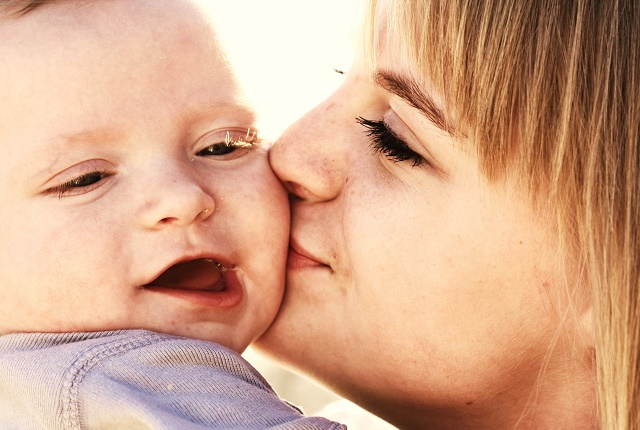 sweet baby with mom